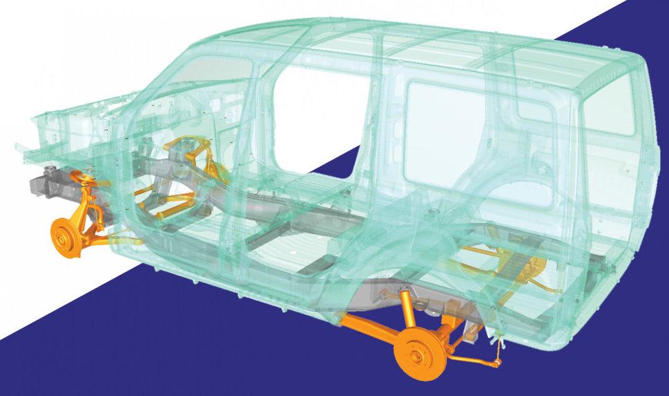 Одна из ранних математических моделей шасси УАЗа Патриот 2020